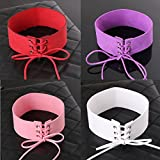 "IDB Faux Suede / Leather Tie Up Wide (1.6"") Choker Necklace Strap - Multiple Colors to choose from"