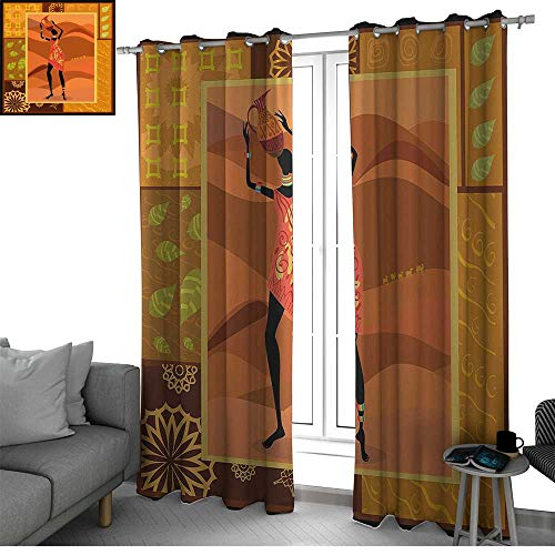 bybyhome African Woman 2 Panels Set Bedroom Kitchen Frame with Natural Autumn Elements Native Girl with Vase Exotic Zulu Print Kids Room Decor Multicolor W108 x L96 Inch
