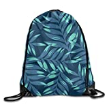 Bahuluo Portable Athletic Drawstring Tote Gym Sack Pack - Fine Plants - Navy