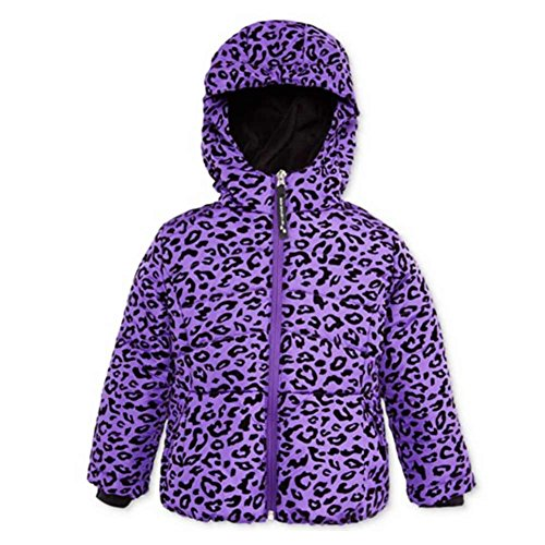 Rothschild Toddler Little Girls Purple Leopard Print Coat Puffer Ski Jacket - Print Coat Rothschild