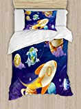 Lunarable Boy's Room Duvet Cover Set Twin Size, Solar System of Planets with a Cute Spaceship Milky Way Galaxy Earth Jupiter Sun, Decorative 2 Piece Bedding Set with 1 Pillow Sham, Multicolor