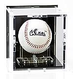 Vetrina espositiva per palle da baseball con base nera e pannello...
