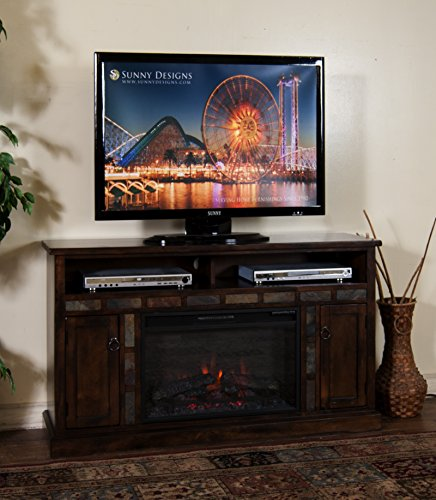 Sunny Designs K3490DC-54F Santa Fe Fireplace Media Console with Firebox Santa Fe Media Cabinet