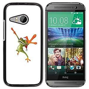 TopCaseStore / la caja del caucho duro de la cubierta de protección de la piel - Frog White Leap Holidays Winter Christmas - HTC ONE MINI 2 / M8 MINI