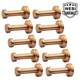 WEBI 10 Set Brass Round Clou Robe Coat Bath Kitchen Towel Hook, Single Wall Door Mount Hat Garment Rack Holder Closet Clothing Hanger Rail Entryway Garage Home Office Organizer Storage, Antique Cooper