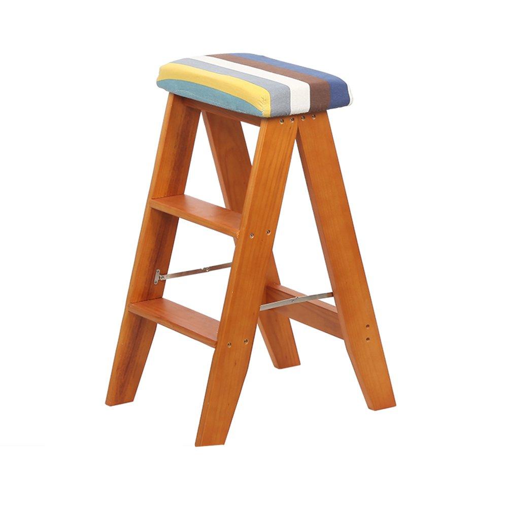 TH 階段スツールソリッドウッド折りたたみチェア屋内二重使用ステップスツールポータブルキッチンスツール家庭用スツール折り畳み可能なはしごスツール (色 : Style-1) B07DS916YN Style-1 Style-1