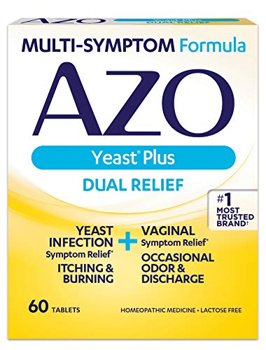 AZO Yeast Plus Dual Relief Homeopathic Medicine | Yeast Infection Symptom Relief: Itching & Burning | Vaginal Symptom Relief: Occasional Odor & Discharge | #1 Most Trusted Brand | 60 Tablets (Best Medicine For Infection)