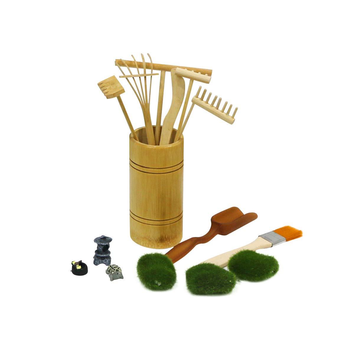 BangBangDa Mini Zen Garden Rake Tool - Tabletop Meditation Rock Sand Garden Kits with Moss Rakes Brusher Spoon Figurines Holder
