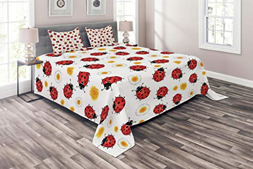 Lunarable Ladybugs Coverlet Set Queen Size, Ladybugs Ladybird Flowers Spring Blooms Sunny Day Doodle Joy Illustration, 3 Piece Decorative Quilted Bedspread Set with 2 Pillow Shams, Red Marigold Black
