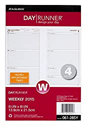 Day Runner Weekly Compact Desk Calendar Planner Refill 2015, 5.5 X 8.5 Inch Page Size, Size 4 (061-285y)