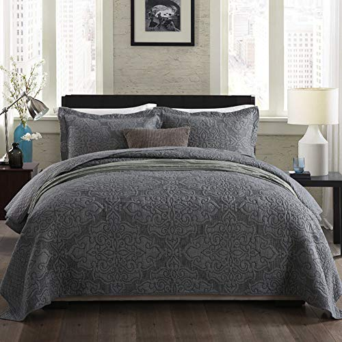 NEWLAKE Bedspread Quilt Set with Real Stitched Embroidery,Jacquard Embossed Floral,Grey,Queen - Embroidery Floral Set