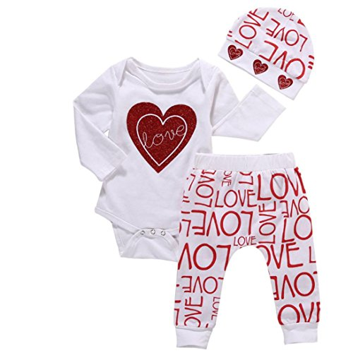 Infant Valentine Outfits (Baby Valentine Outfit, Infant Newborn Boy Girl Cute Heart-Shape Print Long Sleeve Romper 3pcs Clothes Set (White, 0-6M))