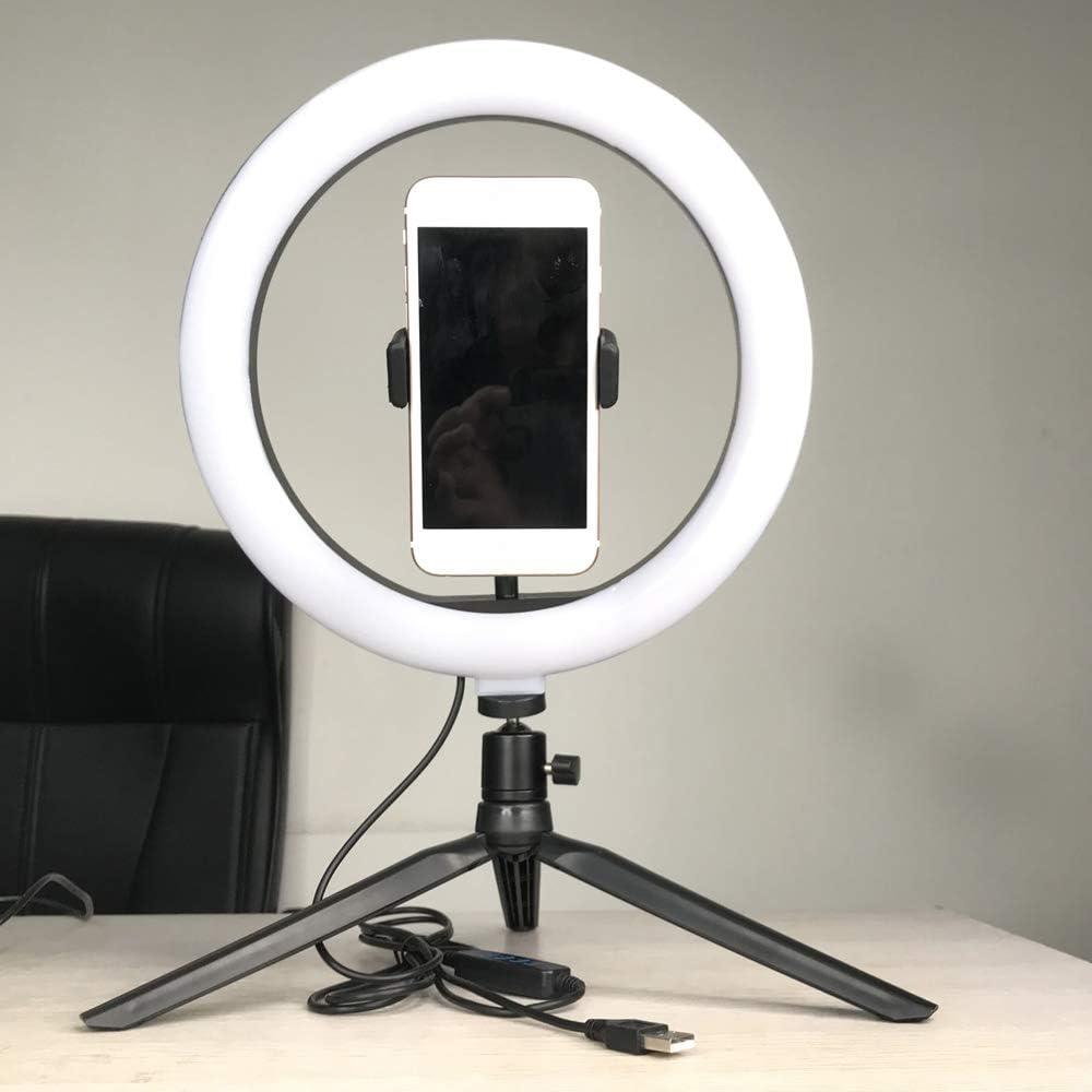 KKmoon Anillo de Luz 10regulable LED Brillo Regulable L/ámpara ajustable de Selfie ronda luz brillo para retransmisi/ón Selfie Fotograf/ía Video con tr/ípode