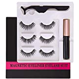 Magnetic Eyeliner With Magnetic Eyelashes, Waterproof Magnetic Liquid Eyeliner With 3 Pair Different style Long Lasting Magnetic False Eyelash,Natural Look,With Tweezers