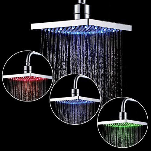 ROVATE 8 Inch Square Shower Head Rainfall Led, ABS 1/2 Connector Shower Head Rainfall High Pressure with Extension for Bathroom, Chrome