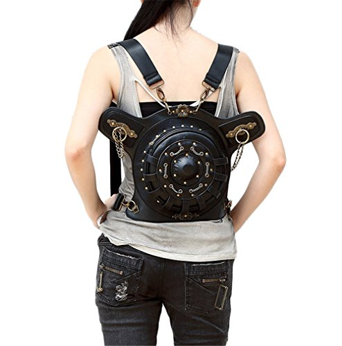 lovezhou Steampunk New Handtaschen PU-Leder Frauen Retro Geldbörse vielseitig rund schwarz Taschen iRiVX