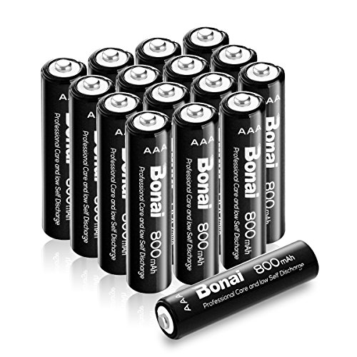 Bonai 16 Pack AAA Rechargeable Batteries 800mAh 1.2V Ni-MH Low Self Discharge Rechargeable Batteries - UL Certificate