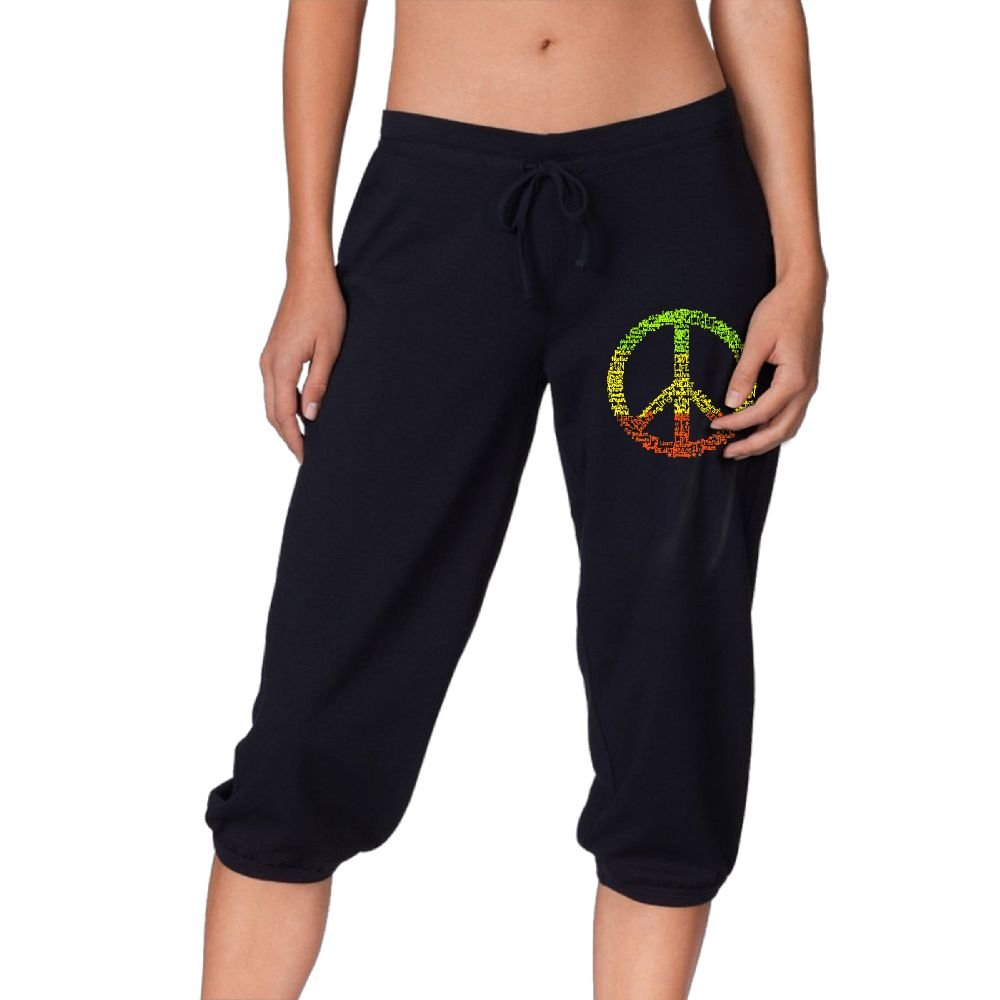 Women's Novelty Performance Colorful Peace Symbol Print Crop Sweatpant Capri Pants Drawstring Knee Pant Black Small by CNJELLAW