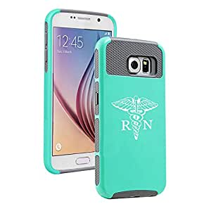 Samsung Galaxy S6 Shockproof Impact Hard Case Cover RN Registered Nurse Caduceus (Teal-Grey)