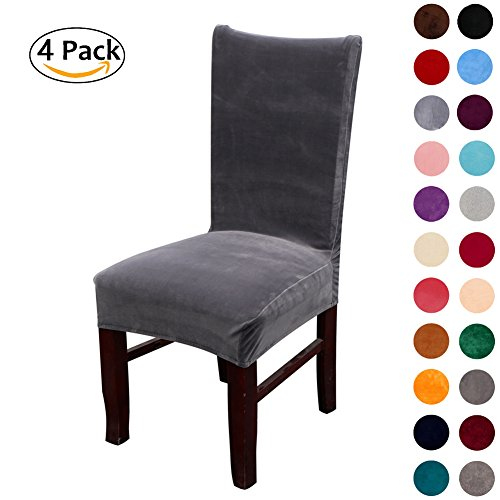 Colorxy Spandex Fabric Stretch Dining Room Chair Slipcovers Home Decor Set of 4, Dark grey
