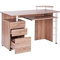 Merax Home Office Computer Desk with Pull-Out Keyboard Tray and Drawers (Oak)