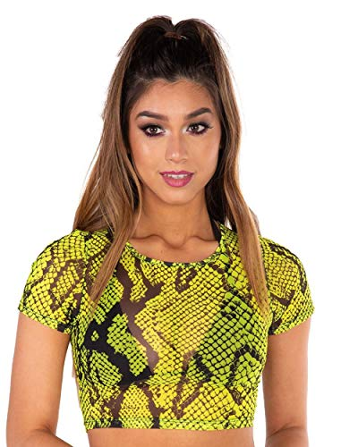 (iHeartRaves Electric Snake Neon Green Snakeskin Mesh Crop Tee (Small))