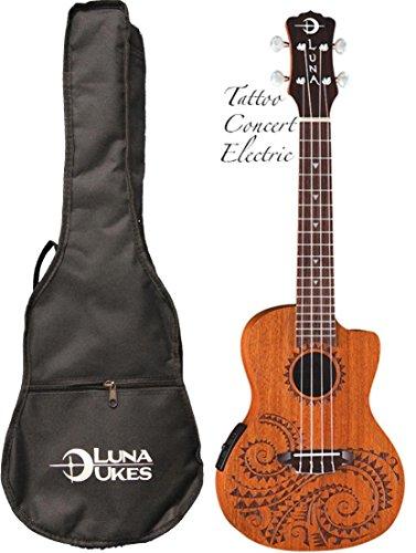 Luna Mahogany Series Tattoo Concert Acoustic-Electric Ukulele