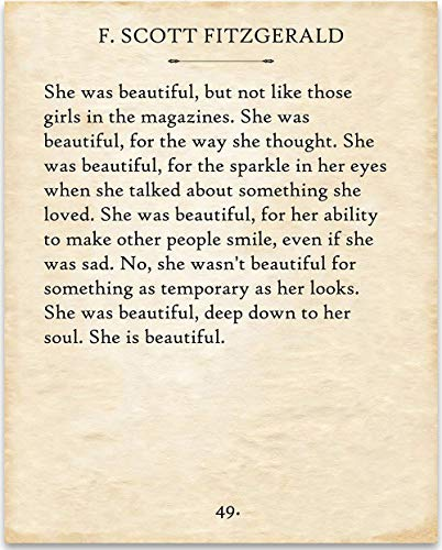 (F. Scott Fitzgerald - She Was Beautiful. - 11x14 Unframed Typography Book Page Print - Great Gift Under $15 for Book Lovers)
