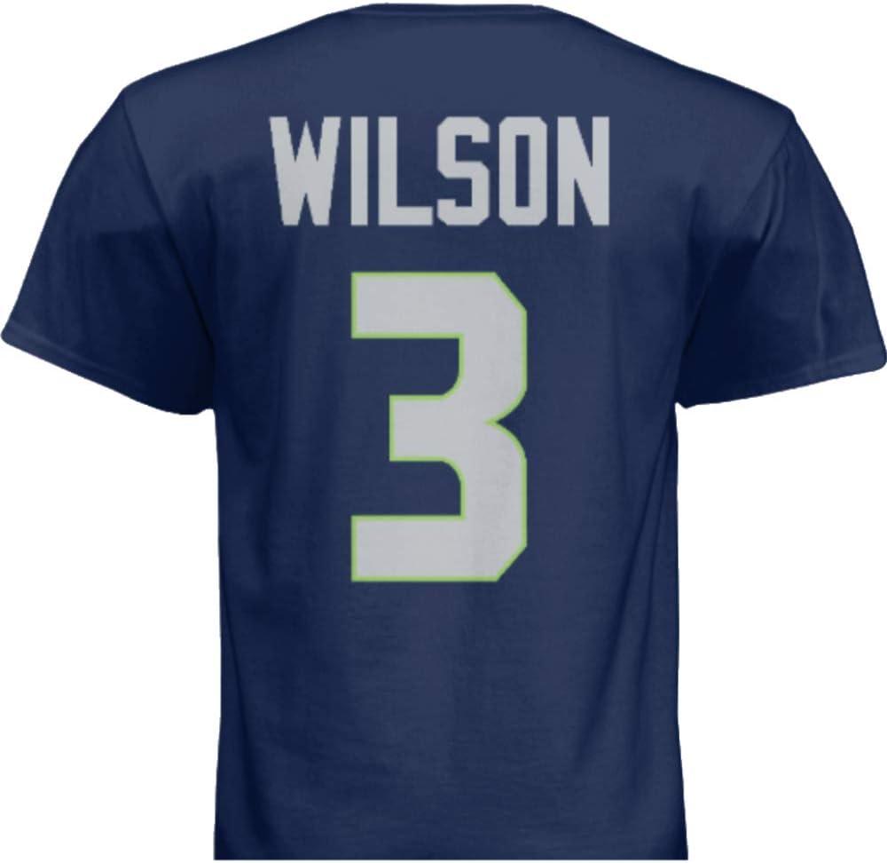 Hall of Fame Sports Memorabilia NWT New Wilson #3 Seattle Blue Custom Screen Printed Football T-Shirt Jersey No Brands//Logos Mens