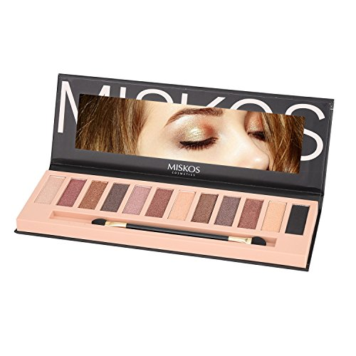MISKOS 12 Colors Nude Tude Eyeshadow Palette Shimmer Matte Eye Makeup Pallete Set Highly Pigmented Red Dark Naked Eye Shadow Pallet (Shimmer B) ()