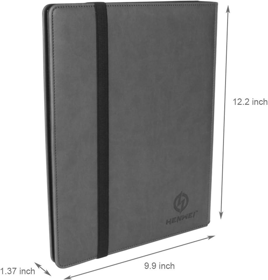 Black Baseball Card Binder Pok/émon Card Holder 9-Pocket Album with Elastic Strap Band Closure Holds 360 MTG Game Standard Sized Trading Cards Premium PU