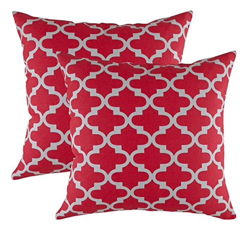 TreeWool Decorative Square Throw Pillowcases Set Trellis Accent 100% Cotton Cushion Cases Pillow Covers (18 x 18 Inches / 45 x 45 cm; Red & Grey) - Pack of 2 (Red Pillows And Grey)