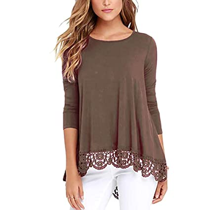 9f6fdd09885e Amazon.com  Dylandy Women s Tops Long Sleeve Lace Scoop Round Neck Tunic  Blouse