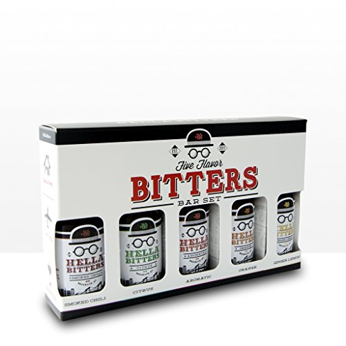 Hella Cocktail Five Flavor Bitters Bar Set: Aromatic, Citrus, Smoked Chili, Ginger and Orange Bitters, Premium, 1.7oz Bottle, 5-Bottle Set
