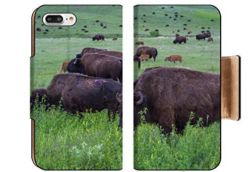 (Luxlady Premium Apple iPhone 8 Plus Flip Pu Wallet Case Image ID: 29776298 Large Wild American Buffalo Herd in The grasslands of South Dakota)