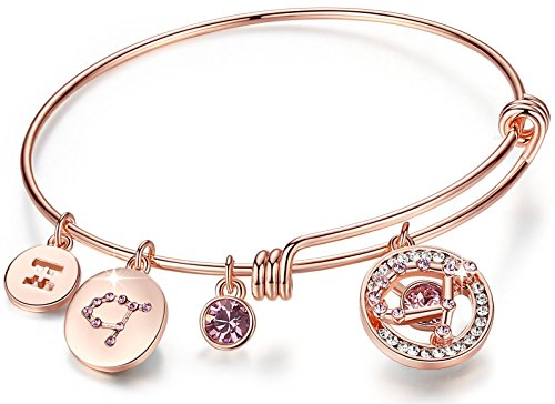 """Leafael Superstar Gemini Zodiac Expandable Bangle Bracelet Made with Swarovski Crystals Horoscope Constellation May June Birthstone Light Amethyst Pink Jewelry, Rose Gold Plated, 7"""""""