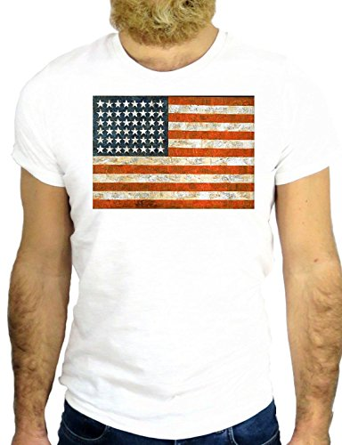T SHIRT JODE Z1819 FLAG AMERICA USA STAR STRIPES FUN COOL FASHION NICE GGG24 BIANCA - WHITE L