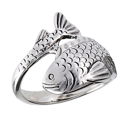 Oxidized Detailed Fish Wrap Animal Ring New .925 Sterling Silver Band Size 8