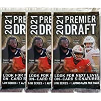 $39 » 3 PACKS: 2021 SAGE Hit Premier Draft Low Series Football pack (7 cards/pk incl. ONE Autograph card)