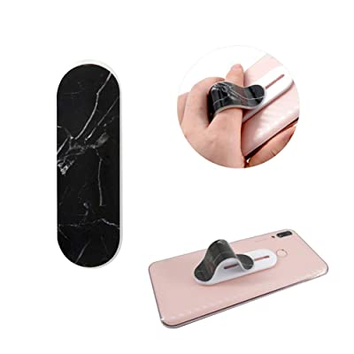 FOURPLUSONE Cell Phone Grip, Universal Handheld Finger Strap Loop Holder for iPhone Samsung Smartphone Kindle Tablet Car Vent Holder (Black-Marble): Electronics