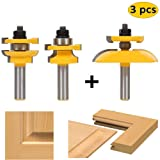 LETBE 3 PCS Router Bit Set, 1/2-Inch Shank Round Over Cove Raised Panel Cabinet Door Rail and Stile Router Bits, Woodworking Wood Cutter, Wood Carbide Groove Tongue Milling Tool (1/2, HXRD-D31A) (Color: 1/2, HXRD-D31A, Tamaño: Full Size)