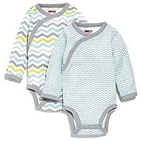 SkipHop Baby Boys' Starry Chevron Side-Snap Long Sleeve Bodysuit Set, Blue, 6...