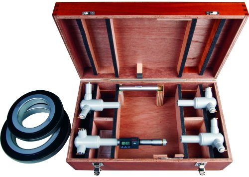 Mitutoyo 468-975 Digimatic Holtest LCD Inside Micrometer, Interchangeable Head Set, 100-200mm Range, 0.001mm Graduation, +/-0.005mm Accuracy (4 Piece Set)