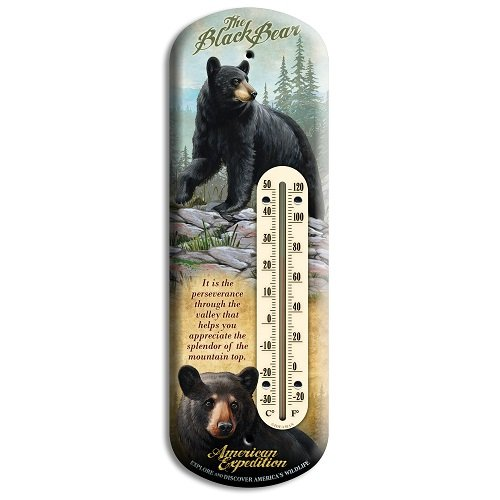 American Expedition Black Bear Tin Back Porch - Tin Thermometer Bear