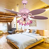 Andersonlight Children Ceiling Fan 5 Wooden Pink Blades 3 Lights Mute Motor Pull Chains Control Metal Pink Finish Indoor 44 Inch FS059