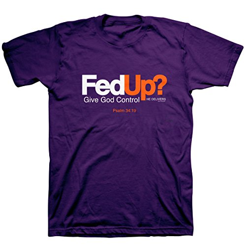 Kerusso-Fed Up? Adult T-Shirt-X-Large - Christian Fashion Gifts Purple