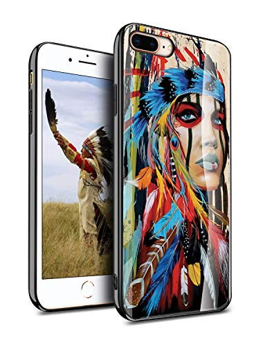 iPhone 8 Plus Case iPhone 7 Plus Cases Cover Protective, Native American Indian Aztec Tribal Tribe Vintage Retro Original Antique Feather Design, Slim Fit Thin Grip Soft TPU and Hard Plastic - KITATA