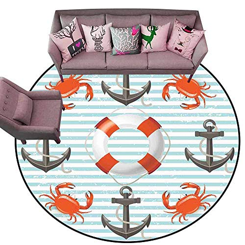 - Non-Slip Bath Hotel Mats Nautical,Life Rings Anchor and Ropes Ocean Crabs Coastal Theme Teal Striped Print,Scarlet Black Teal Diameter 78