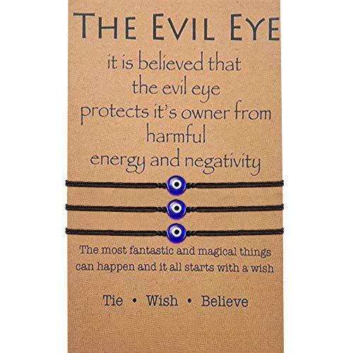 BOCHOI Evil Eye Bracelet Black for Women Girls Adjustable Thread Cord Bracelet Hand Woven for Protection Friendship Wish Bracelet for BFF (3Pcs)
