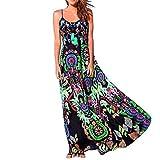 Floral Maxi Dresses Women Bohemian Printed Sundress Summer V Neck Sleeveless A-Line Party Holiday Beach Flowy Dress (Black, XL)